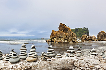 Stacked stones on Ruby beach, Forks, Washington, United States, Forks, Washington, USA