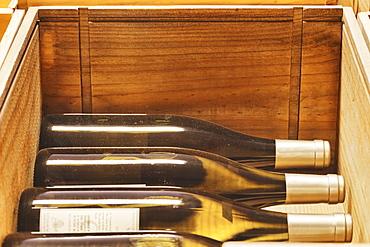 Close up of crates of wine bottles, Tacoma, Washington, USA