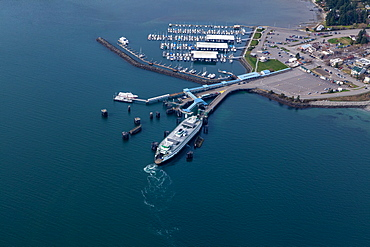 Aerial view of ferry terminal in Seattle harbor, Seattle, Washington, United States, Seattle, Washington, USA