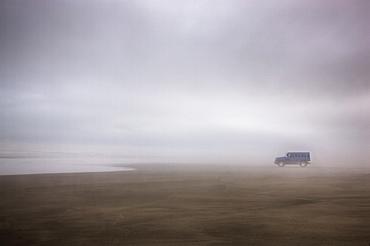 Truck on foggy beach, Long Beach, Washington, USA