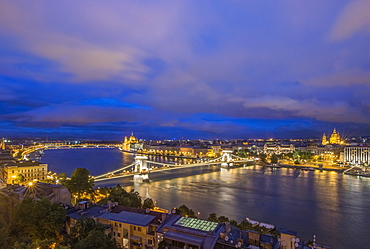 View of Chain Bridge illuminated at night, Budapest, Hungary