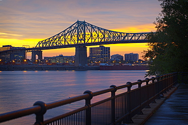 Montreal city skyline and bridge at sunset, Quebec, Canada