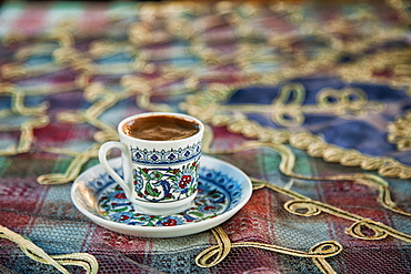 Close up of cup of Turkish coffee