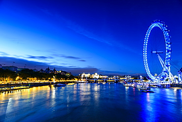 London Eye overlooking river front, London, United Kingdom