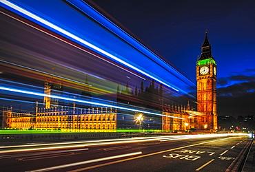 Long exposure view of traffic by Big Ben, London, United Kingdom