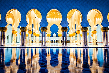 Ornate tiled arches of Grand Mosque, Abu Dhabi, United Arab Emirates