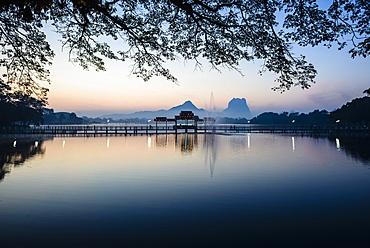 Sunrise over mountains and lake, Hp-Aan, Kayin, Myanmar