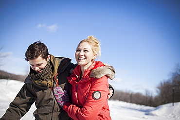 Caucasian couple in winter