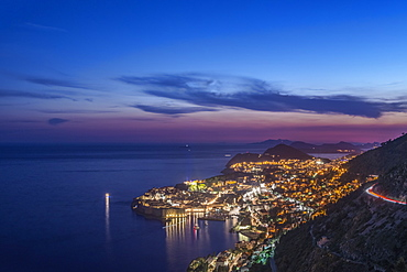 Aerial view of coastal city illuminated at night, Dubrovnik, Dubrovnik-Neretva, Croatia