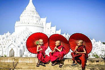 Asian monks sitting under umbrellas near historic temple, Mingun, Mandala, Myanmar