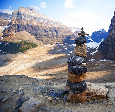 Stacked rocks on Six Glaciers Trail, Banff, Alberta, Canada