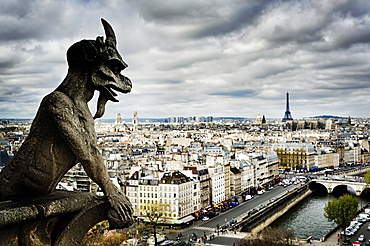 Gargoyle sculpture over Paris cityscape, Ile-de-France, France