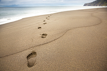 Close up of footprints in beach sand, foot prints in sand, Faial, Portugal