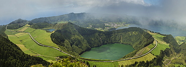Aerial view of Twin Crater Lakes in rural landscape, Sao Miguel, Portugal, Twin Crater Lakes, Sao Miguel, Portugal