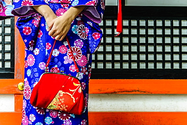 Close up of woman in kimono holding purse, Kyoto, Japan