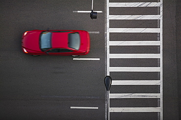 High angle view of car driving on street, Chicago, Illinois, USA