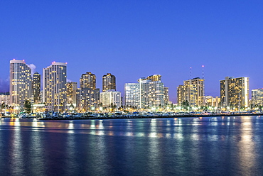 Honolulu city skyline reflection in ocean, Hawaii, United States, Honolulu, Hawaii, USA