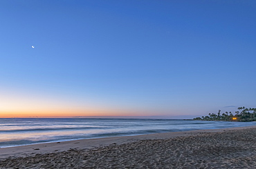 Sunrise over beach and ocean, Kapaa, Hawaii, USA