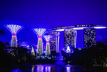 Singapore marina illuminated at night, Singapore