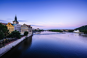 Blue sky over Prague waterfront, Czech Republic, Prague, Czechoslovakia