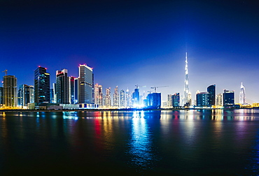 Dubai city skyline and waterfront, United Arab Emirates, Dubai, United Arab Emirates