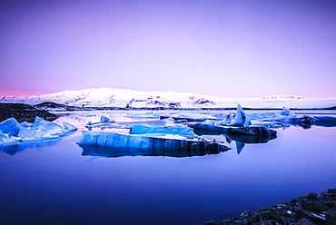 Glaciers floating on remote lake, rural, East, Iceland