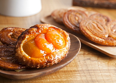 Close up of apricot puff pastry tart, Seattle, Washington, USA