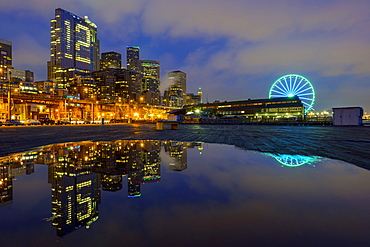 Number 12 illuminated in highrise, Seattle, Washington, United States, Seattle, Washington, USA