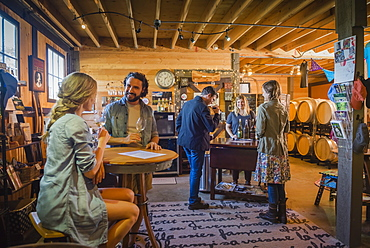 Caucasian people drinking wine in winery, Langly, Washington, USA