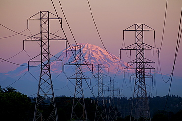 Electricity pylons near mountain landscape, Seattle, Washington, USA