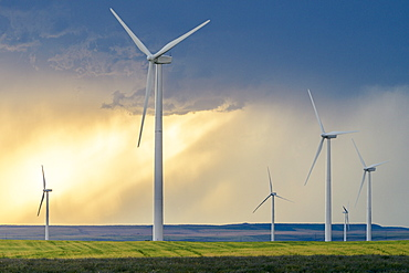 Wind turbines at sunset, Shelby, Montana, USA
