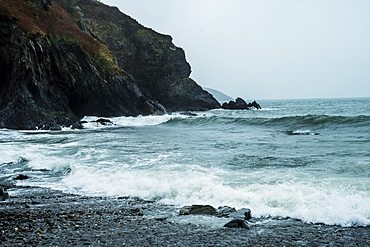 View along the rugged coastline of Pembrokeshire National Park, Wales, UK, Pembrokeshire National Park, Wales