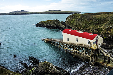 View of the old boat house, St Davids Lifeboat Station in St. Justinian, Pembrokeshire, Wales, UK, Pembrokeshire National Park, Wales
