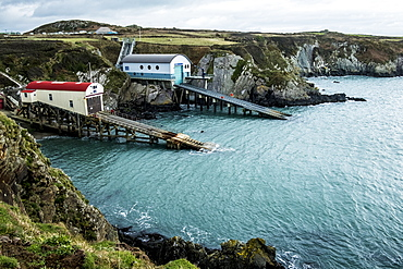 View of the new and old boat houses, St Davids Lifeboat Station in St. Justinian, Pembrokeshire, Wales, Pembrokeshire National Park, Wales