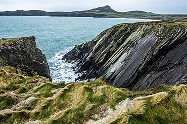 View along the coastline with rocky cliffs, Pembrokeshire National Park, Wales, UK, Pembrokeshire National Park, Wales