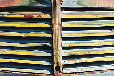 Close up of front grille from abandoned antique truck, Whitman County, Washington, USA