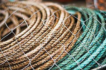 Fishing gear, rope and nets stacked up