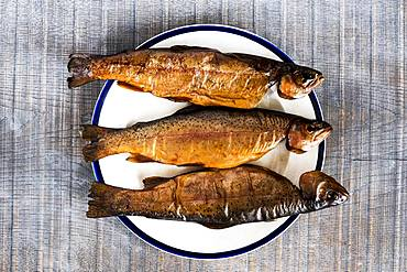 High angle close up of three freshly smoked whole trout on a white plate