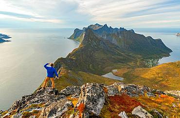Stunning view from mountains in Lofoten Islands, Norway