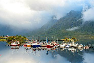 Fishing boats and traditional wooden huts, Lofoten islands, Norway