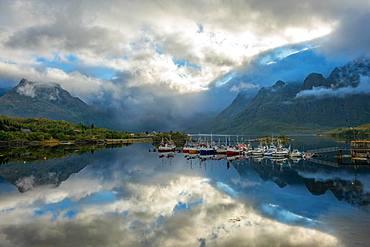 Boats moored near the village of Reine, Lofoten Islands