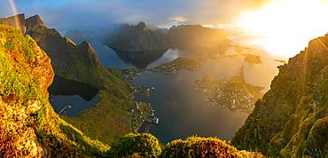 View from above of the village of Reine, Lofoten Islands, Norway