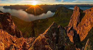 Sunrise over mountains & fjord, Senja Island, Tromso, Senja Island, Lofoten Islands, Norway