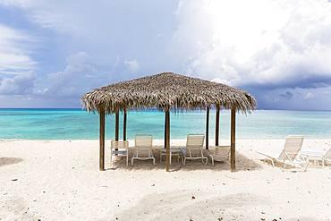 A cabana sun shelter on a sandy beach, Grand Cayman, Cayman Islands