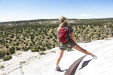 Rear view of a teenage girl hiker overlooking a desert vista