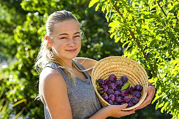 portrait of smiling A teenage girl holding a basket of plums