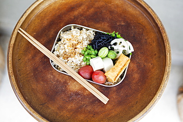 High angle close up of a selection of vegetarian Japanese foods in a cafe, Kyushu, Japan