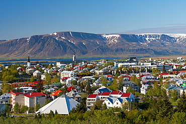 Elevated view across Reykjavik, Iceland, Iceland