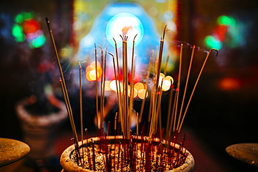High angle close up of incense at a temple, Vietnam, Mekong Delta