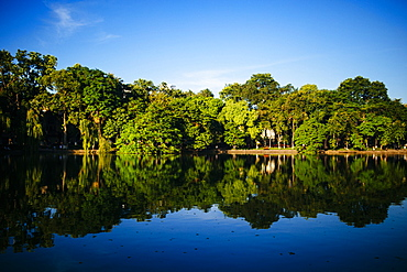 Trees and blue sky reflected on a lake, Vietnam